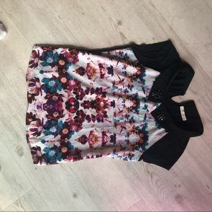 Printed top with jewel collar